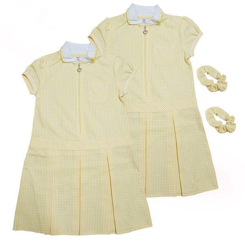 Yellow Pleated Gingham Summer Dress+Hair Bobble | Oscar & Me - Children's Clothing