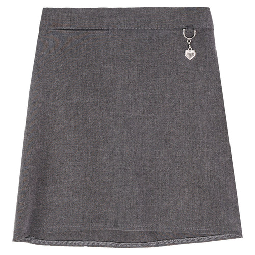 Girls Grey School Skirt with Heart Attachment | Oscar & Me - Children's Clothing