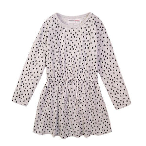 Girls Grey Spot AOP Jersey Dress | Oscar & Me | Baby & Children's Clothing & Accessories