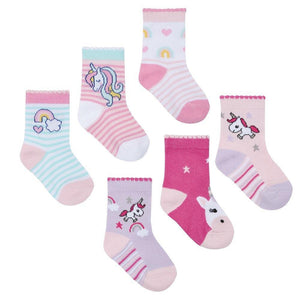 Baby Girls 3 Pack Cotton Rich Unicorn Design Ankle Socks | Oscar & Me - Children's Clothing