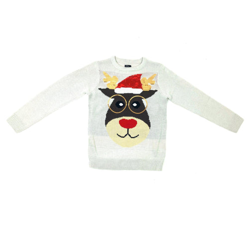 Cream Reindeer Christmas Jumper | Oscar & Me - Children's Clothing