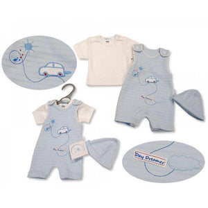Premature Baby Boys 2 pcs Dungaree Set with Hat - Day Dreamer