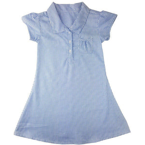 Girls Blue Button Front Gingham Summer Dress | Oscar & Me - Children's Clothing