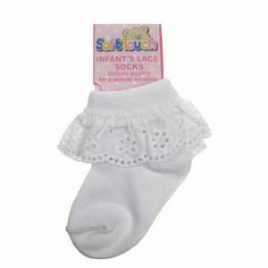 Baby Girls White Broderie Anglaise Lace Turn Over Socks | Oscar & Me | Baby & Children's Clothing & Accessories