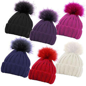 Ribbed Hat with Detachable Solid Faux Fur Pom Pom