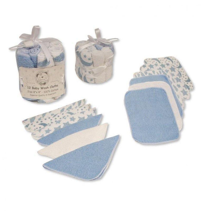 Baby 12 Wash Cloths - Blue