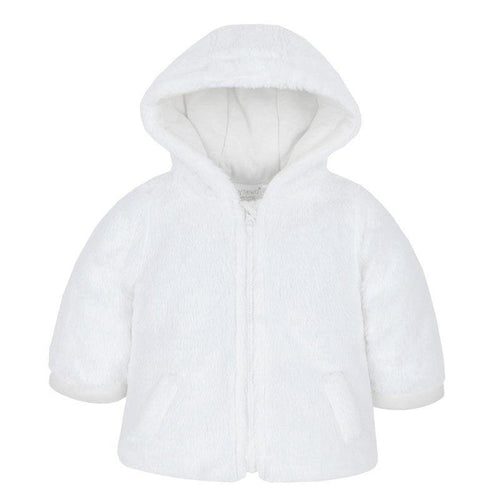 Baby White Cuddle Fur Hooded Coat