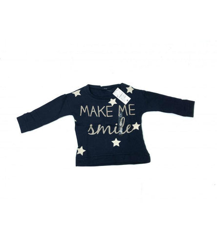 Girls Navy Make Me Smile Sweatshirt | Oscar & Me - Children's Clothing