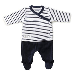 Baby Boys Striped Velour 2 Piece Outfit