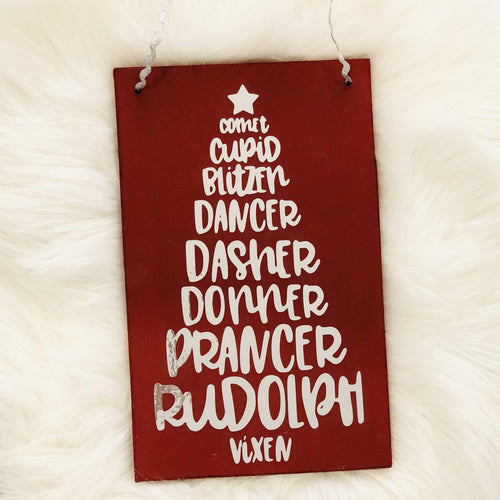 Reindeer Names Hanging Plaque | Oscar & Me - Children's Clothing