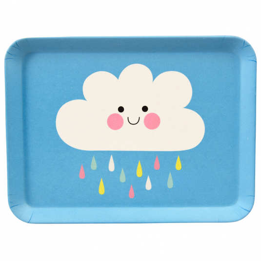 Happy Cloud Bamboo Tray