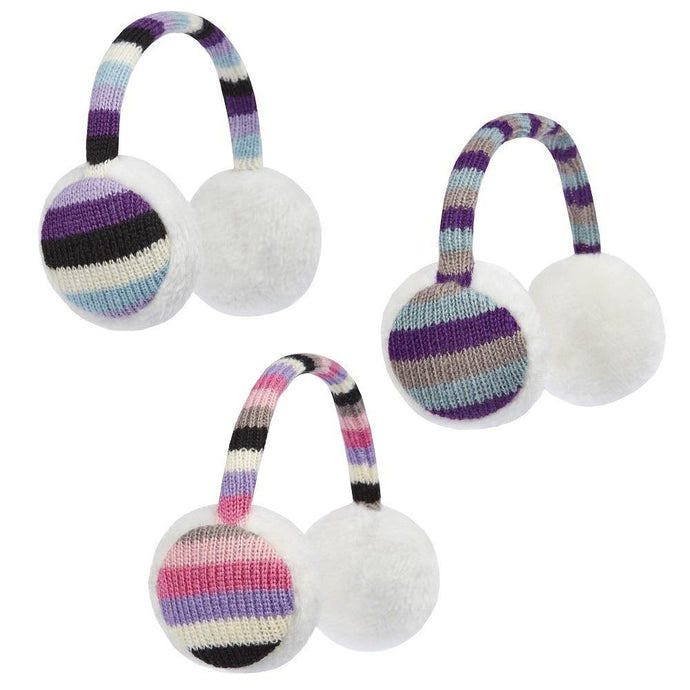 Girls Stripe Ear Muffs | Oscar & Me - Children's Clothing