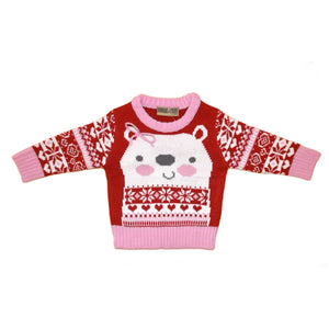 Baby Girls Polar Bear Christmas jumper | Oscar & Me - Children's Clothing