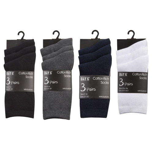 3 Pack Cotton Rich Plain School Socks | Oscar & Me - Children's Clothing