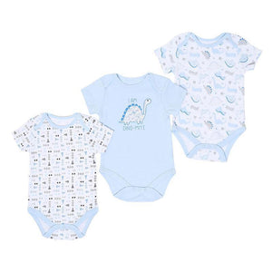 Baby Boys 3 Pack Dino Bodysuits
