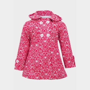Girls Folk Print Vinyl Rain Mac | Oscar & Me - Children's Clothing