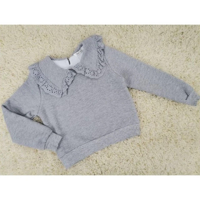 Girls Light Grey Lace Peter Pan Collar Sweatshirt