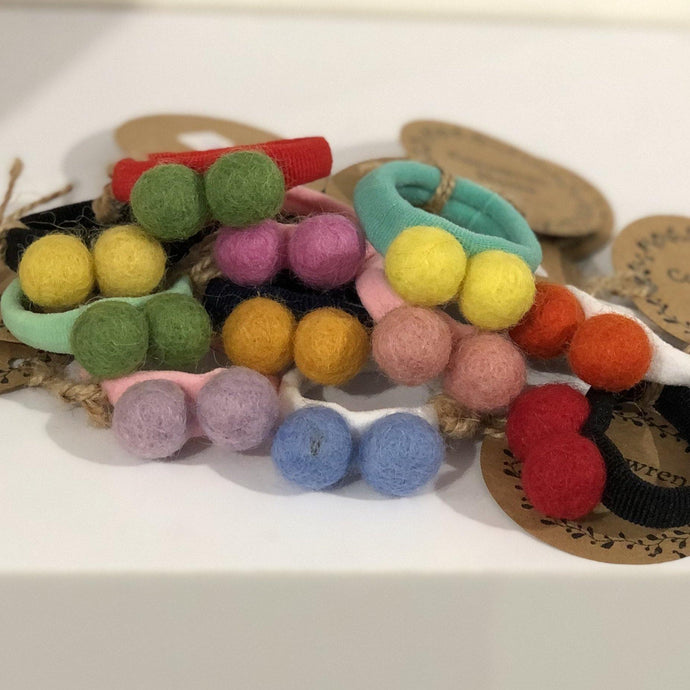 Double Felt Pom Pom Hair Bobbles | Oscar & Me - Children's Clothing