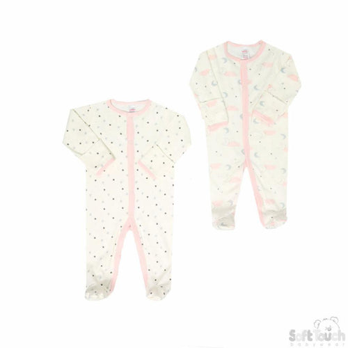 Baby Girls Twin Pack Sleepsuits