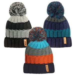 Boys Thermal Stripe Knitted Bobble Hat | Oscar & Me - Children's Clothing