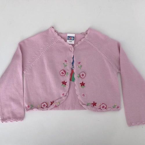 Girls Pink with Flower Detail Emily Bolero Cardigan | Oscar & Me - Children's Clothing