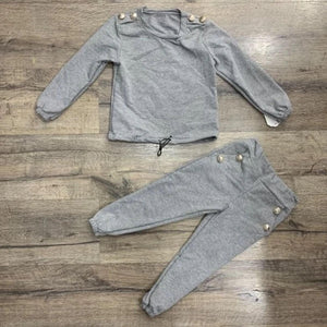 Girls Grey & Gold Button Lounge Set
