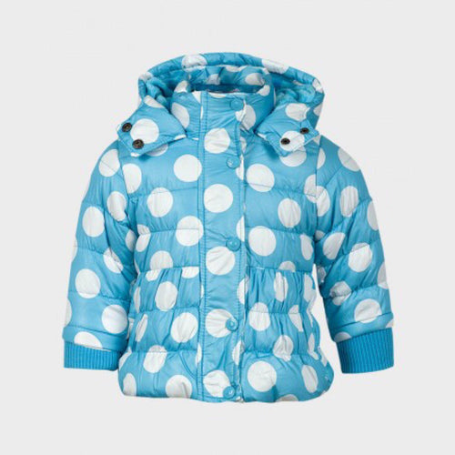 Girls Spot Print Puffer Jacket - Blue | Oscar & Me - Children's Clothing