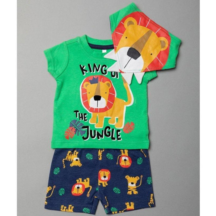 Baby Boys Lion T-Shirt, Shorts and Bib Outfit | Oscar & Me | Baby & Children's Clothing & Accessories