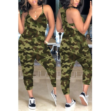Printed Army Green One-piece Jumpsuit(With Elastic) - Kimmy Kouture