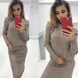 Fashion Beading Sweater Sets Autumn Women 2 Piece Set Sexy Shoulder Off Sweater+Slim High Waist Knitted Skirt Women Sweater Suit