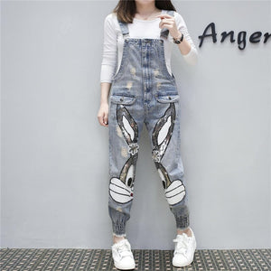 High Waist Long Denim Overalls Ripped Stretch Dungarees Rabbit Sequin Beading Jumpsuits