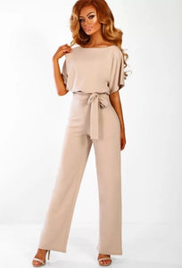 Elegant O Neck Casual Jumpsuits 2020 Summer Red 3XL Plus Size Loose Women Bandage Long Overalls High Waist Straight Office Wears