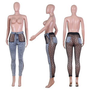 Sheer Lace Splice Denim Pants Women High Waist