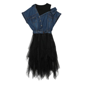 GALCAUR 2020 Tulle Denim Summer Dress Tunic Female Jean Dresses for Women Casual Bandage Sexy Off Shoulder Big Size Clothes