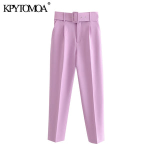 KPYTOMOA Women 2020 Chic Fashion High Waist With Belt Pants Vintage Zipper Fly Pockets Office Wear Female Ankle Trousers Mujer