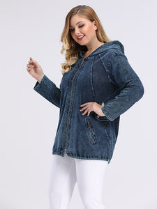 LIH HUA Women's Plus Size Spring Casual Denim Jacket high flexibility Slim Fit Jacket hoodie jacket Shoulder pads for clothing