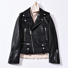 Spring Genuine Leather Jacket Women 2019 Fashion Real Sheepskin Coat Rivet Motorcycle Biker Jacket Female Sheep Leather Coat