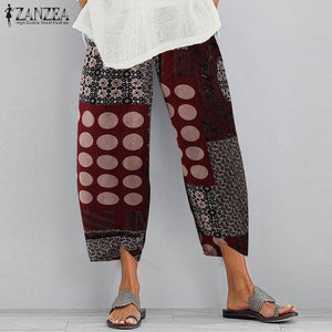 ZANZEA Vintage Linen Pants Women's Summer Trousers Casual Elastic Waist Asymmetrical Pantalon Female Cropped Pants Oversized