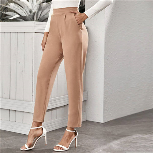 SHEIN Nude High Waist Slant Pocket Tailored Pants Women 2020 Spring Autumn Office Ladies Elastic Waist Elegant Long Trousers