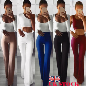 New Casual Retro Women Plain Palazzo Solid High Waist Flare Wide Leg Chic Trousers Slim Long Loose OL Work Pants Plus Size