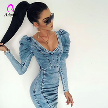 Denim Bodycon Mini Dress Elegant Women Vestidos 2019 New Pocket Button Jeans Dress Sexy Deep V Neck Ladies Denim Party Dresses