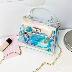 See-through Baby Blue PU Crossbody Bag - Kimmy Kouture