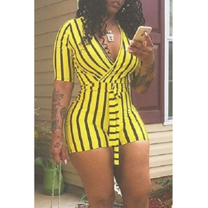 Lovely Casual Striped Print Yellow One-piece Romper