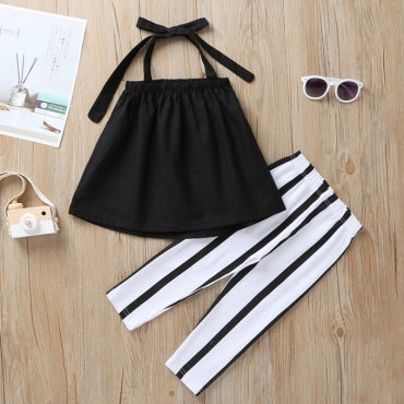 Trendy Lace-up Black Girl Two-piece Pants Set