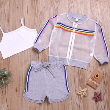 Trendy See-through Grey Girl Two-piece Shorts Set