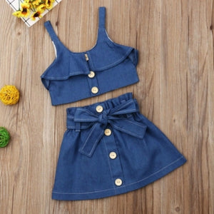 Trendy Buttons Design Blue Girl Two-piece Skirt Set