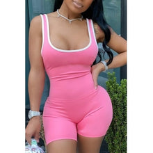 Casual Patchwork Pink One-piece Romper