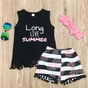 Casual O Neck Letter Print Black Girl Two-piece Shorts Set
