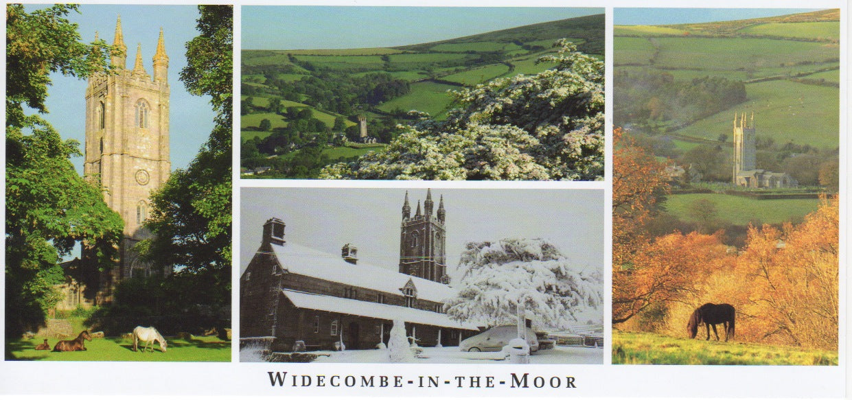 P058 - Widecombe Views - Postcard - Panoramic - Pack of 10