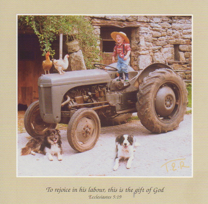 S070 - Tractor Boy - Scripture Card - Square